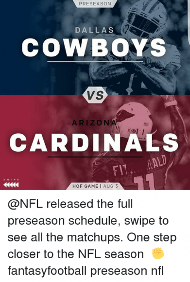NFL Preseason: Dallas Cowboys vs. Arizona Cardinals at AT&T Stadium